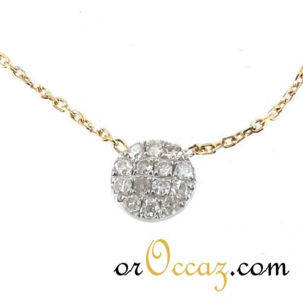 bijoux d occasion oroccaz collier motif rond pavage diamants. Black Bedroom Furniture Sets. Home Design Ideas