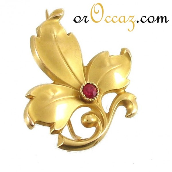 Broche pierre rouge