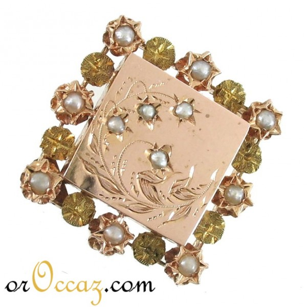Broche ancienne perles