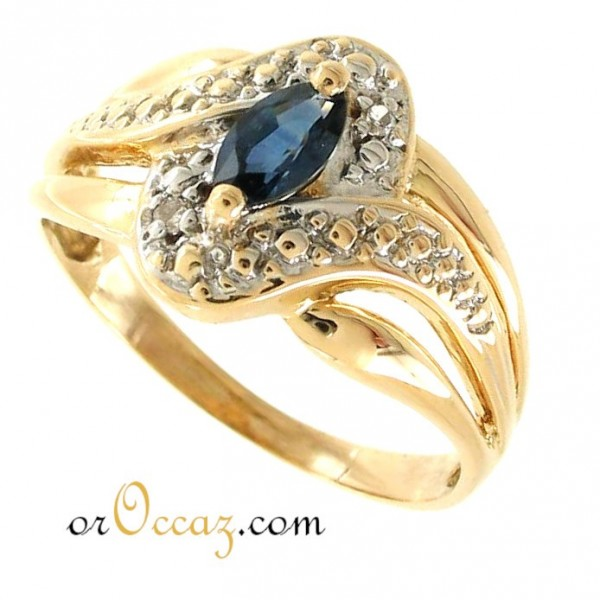 Bague contemporaine, saphir et diamants