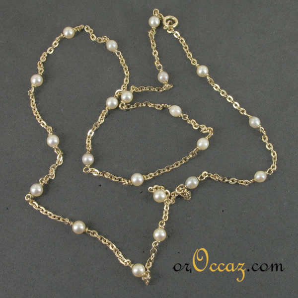 Collier or et perles