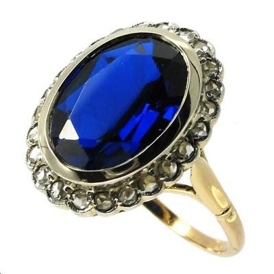 bijoux d occasion oroccaz bague ancienne pierre bleue et diamants. Black Bedroom Furniture Sets. Home Design Ideas