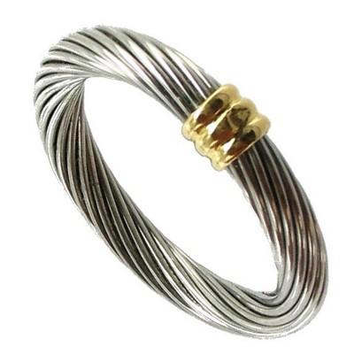 Bijoux D Occasion Oroccaz Bague Cable Or Et Acier