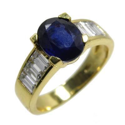 Bijoux D Occasion Oroccaz Bague Saphir Et Diamants Baguette